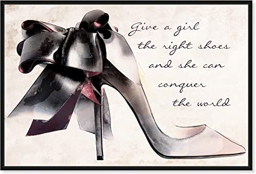 The Oliver Gal Artist Co. Fashion and Glam Framed Wall Art Canvas Prints 'Give a Girl' Shoes Home D cor