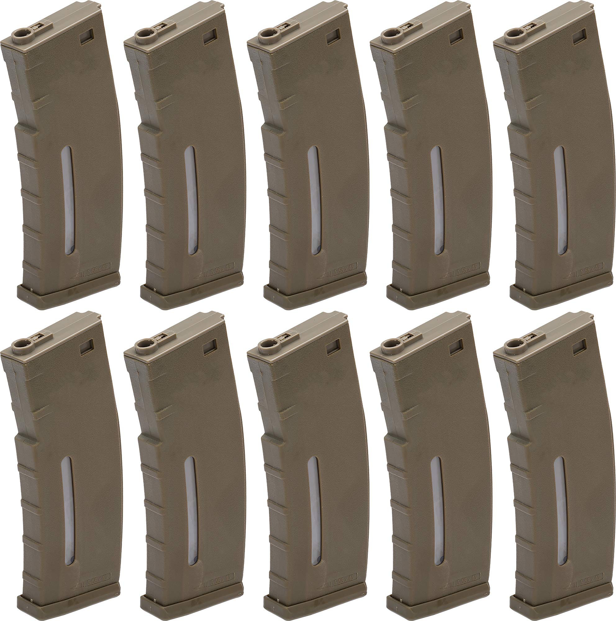 Evike BAMF 190rd Polymer Mid-Cap Airsoft Magazine for M4 / M16 Series AEG Rifles (Color: Tan / x10 Package) by Evike