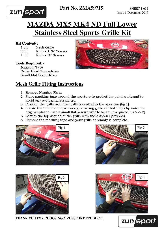 Calandre Bas de Caisse int/égrale 2015 - Finition Noir Zunsport Compatible avec Mazda MX5 MK4 ND
