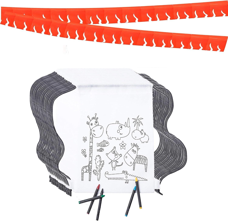 Partituki Mochila Colorear. 35 Mochilas de Colorear, 35 Sets de 5 Ceras de Colores y una Guirnalda (Color Aleatorio) de 20 m. Ideal para Detalles Cumpleaños Infantiles y Regalos Cumpleaños Niños