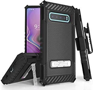 Beyond Cell Trishield Series Compatible With S10+ Case/ Military Grade Rugged Cover + [Metal Kickstand]+[Belt Clip Holster] Compatible With Samsung Galaxy S10 Plus (2019)- Black