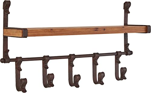 Stone Beam Industrial Rustic Metal Floating Shelf with 5 Hooks – 13 x 22 x 5 Inch, Black and Wood