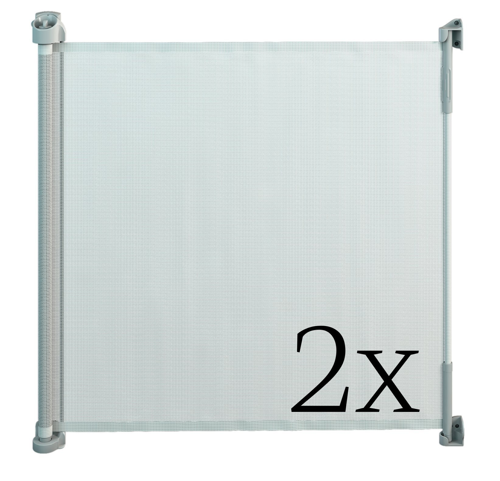 Gaterol Active Lite White Double Pack - Retractable Safety Gate - Super Safe 36.6'' Tall and Opens up to 55''