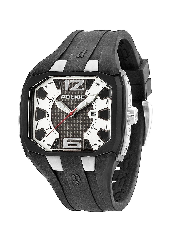 Police PL.93882AEU/04 - Reloj de cuarzo para hombres con esfera de plata y correa negra de silicona