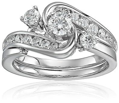 640db0c91 IGI Certified 14k White Gold and Diamond Interlocking Bypass Bridal Wedding  Ring Set (1 cttw, H-I Color, I1-I2 Clarity)