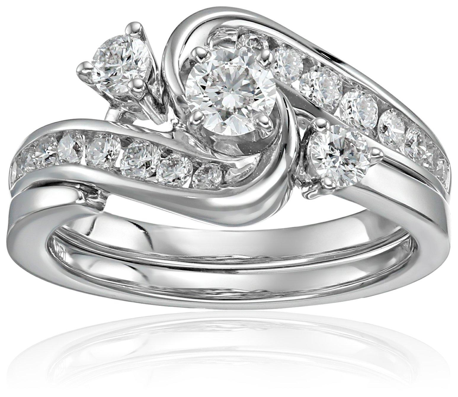IGI Certified 14k White Gold Diamond Interlocking Bypass Bridal Wedding Ring Set (1 cttw, H-I Color, I1-I2 Clarity), Size 7