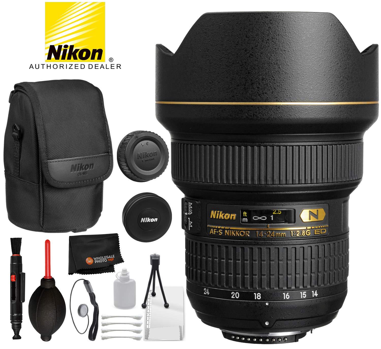 Nikon AF-S NIKKOR 14-24mm f/2.8G ED Lens with Professional Bundle Package Deal Kit for D3400, D3500, D5300, D5600, D7200, D7500, D750, D610, D500, D810, D850
