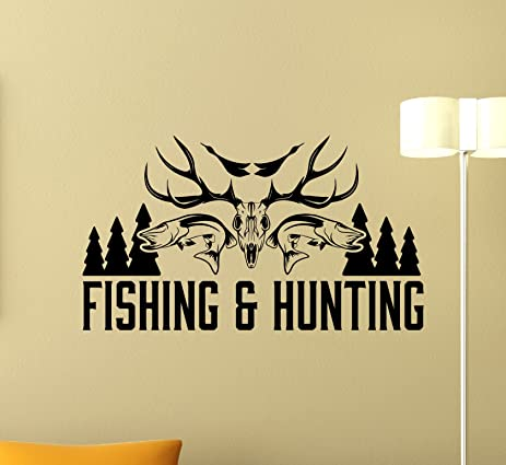 Fishing And Hunting Logo Wall Decal Hunter Hunting Shotgun Deer Wild Hunting  Wall Sticker Hunting Dog