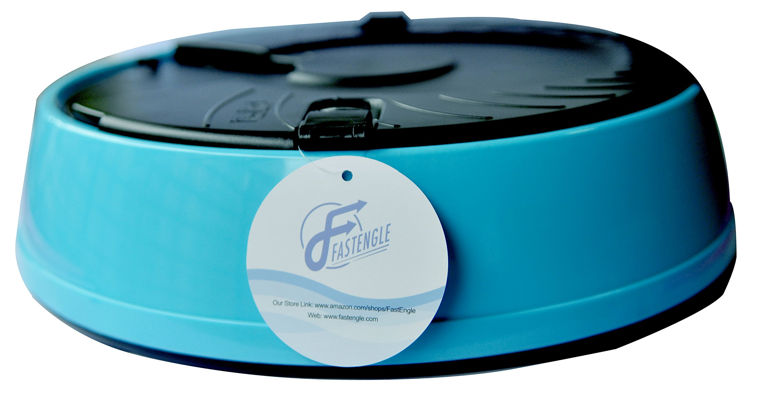 FastEngle Automatic Dog Feeder 6 Meals Programmable Timer Portion Control Pet Feeder Pet Cat Puppy Animal Food Supplies Bowls Water Trays Electronic Station Container with LCD Display (Light Blue)