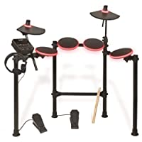 ION Audio Redline Drums, Seven Piece Electronic Drum Kit with LED Illuminated Pads, 200 Plus Sounds and On-board Drum Coach,Drumsticks and Headphones Included