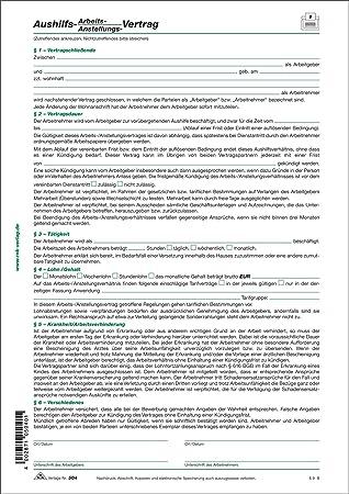 Formular: Aushilfsvertrag, Arbeitsvertrag oder Anstellungsvertrag ...