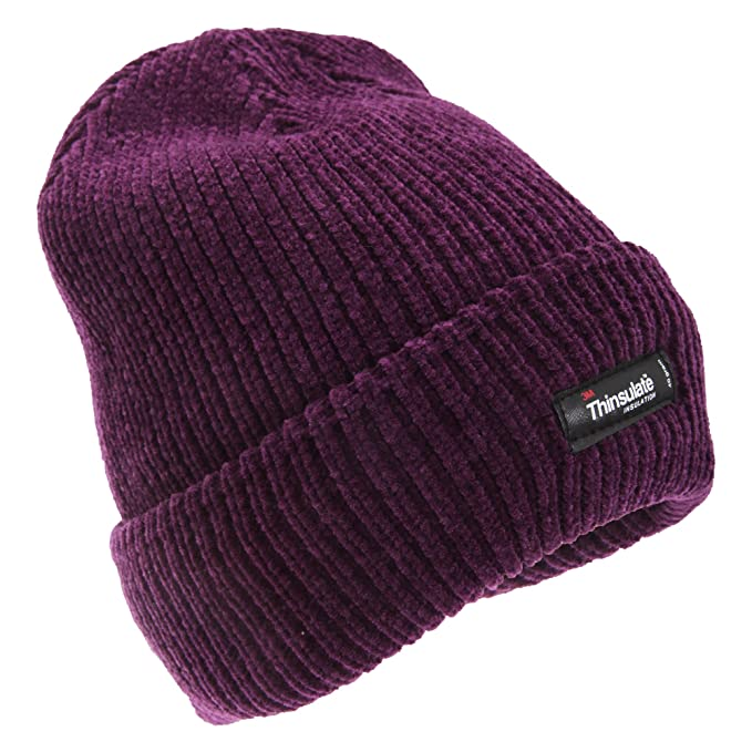 FLOSO Womens Ladies Thinsulate Thermal Chenille Winter Hat (One Size) ( Purple) 322c48af128