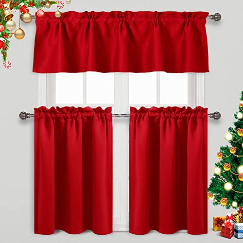 DWCN Tier Curtains and Valance Set 3 Piece Rod Pocket Blackout Window Drapes for Kitchen – Thermal Insulated Energy Saving, W60 x L18 Valance, 2 Set of W32 x L36 inch Tiers, Red