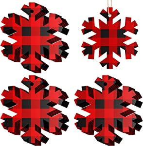 20 Pieces Christmas Wooden Snowflake Decorations Xmas Wood Snowflake Hanging Ornaments with Buffalo Check Buffalo Plaid Christmas Wooden Snowflake Cutouts with Ropes for Xmas Decorations Tree Decor