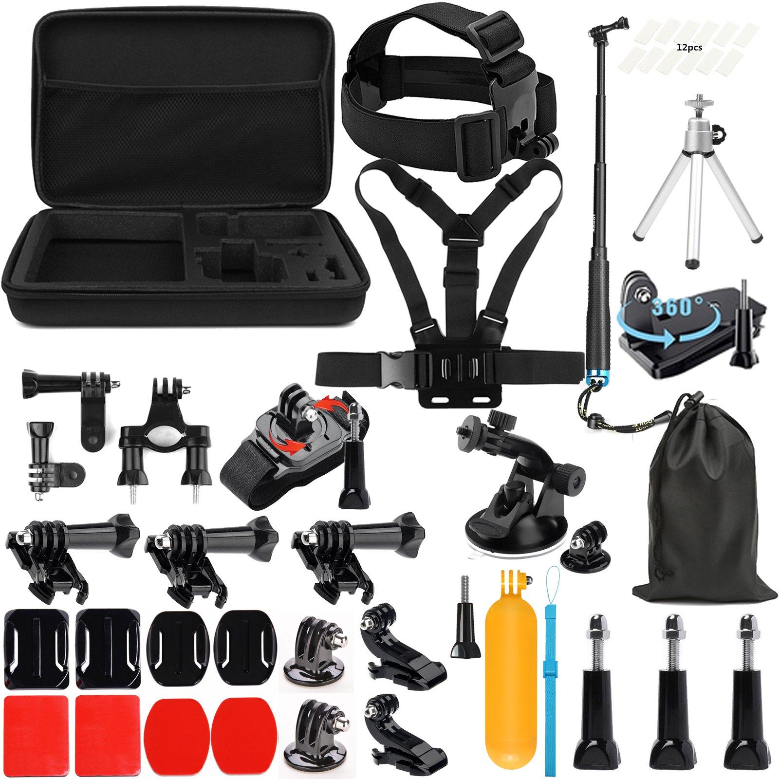 Lighten Outdoor Sports Accessories Kit for GoPro Hero 7 Black Silver White/6/Hero 5 4 3+ 3 2 1/Hero(2018)/Fusion AKASO EK7000 APEMAN Campark FITFORT 4K WiFi Action Camera by Lighten