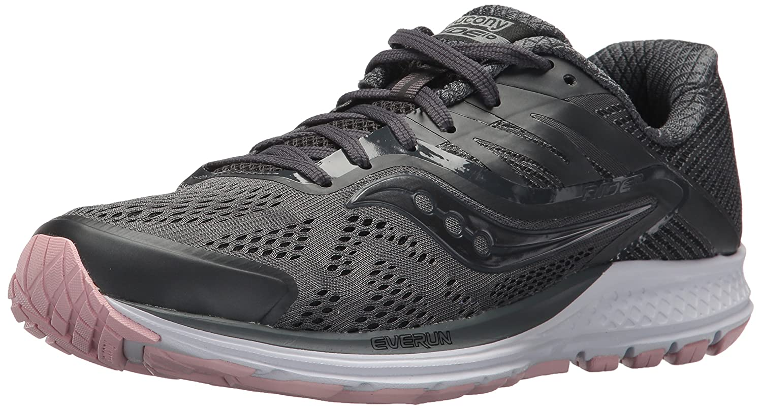Saucony Women's Ride 10 Running Shoe B072JWJSHH 10 B(M) US|Gunmetal/Pink