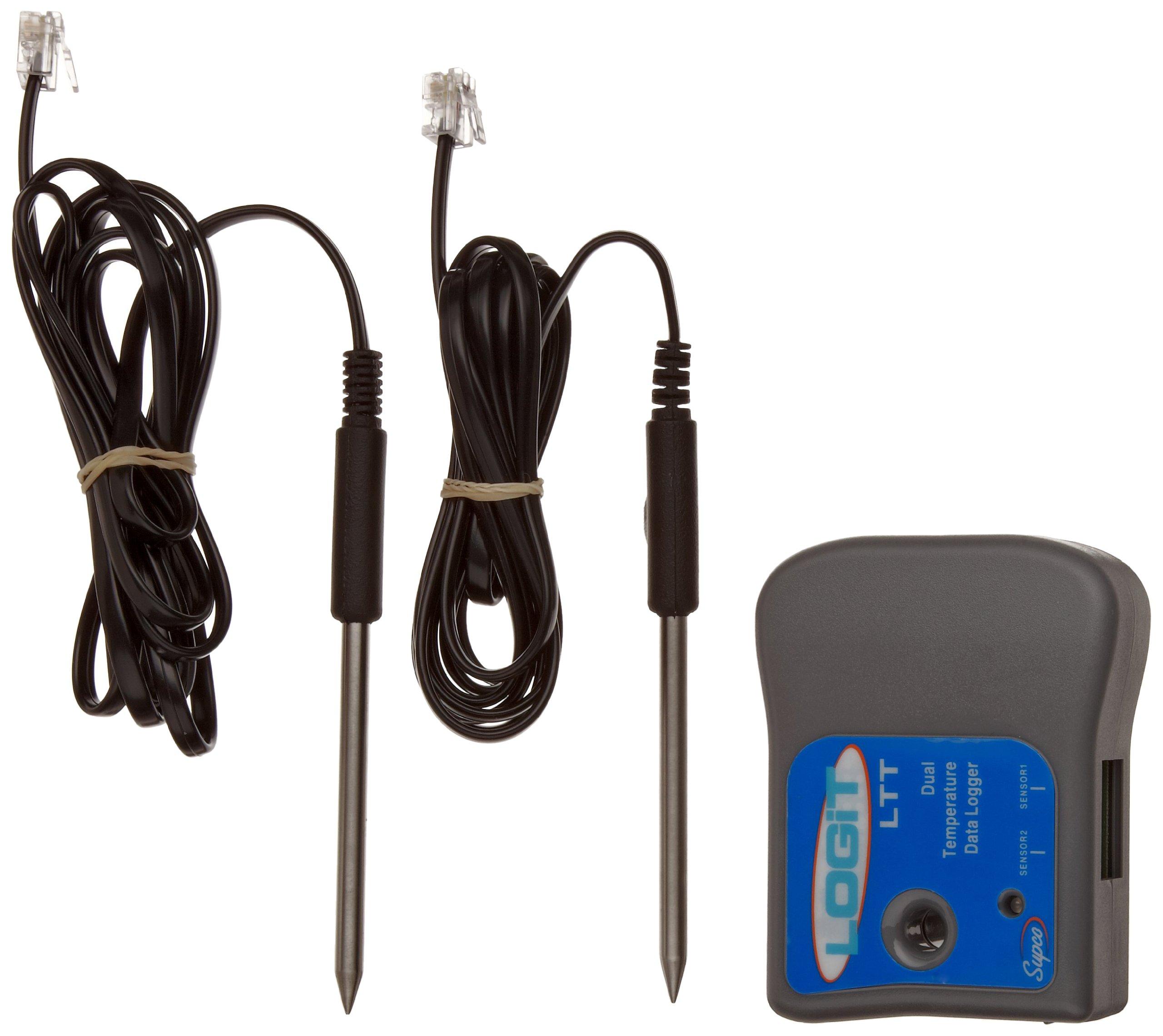 Supco LTT LOGiT Dual Temperature Data Logger, 3'' Length x 2-1/2'' Width x 1-3/32'' Height