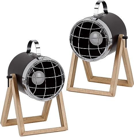 BRUBAKER set de 2 lámparas de sobremesa o de pie - diseño industrial - altura hasta 42 cm - base de madera - foco metal negro