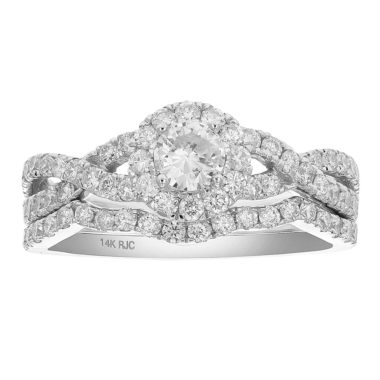 3407485485f93 1 CT Diamond Halo Criss-Cross Wedding Engagement Ring Set 14K Gold