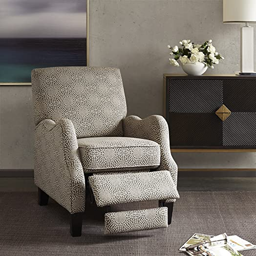 Madison Park Hoffman Recliner Chair – Solid Wood, Plywood, Fully Upholstered, Bedside Lounger, Modern Classic Style, Family Room Sofa Furniture, Beige Medallion