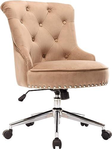 Porthos Home Jaron Office Chair – Tufted Wingback Velvet Upholstery