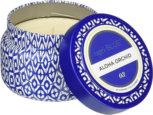 Original Package Aspen Bay Capri Blue Volcano Printed Travel Tin Candle 8.5 Ounce