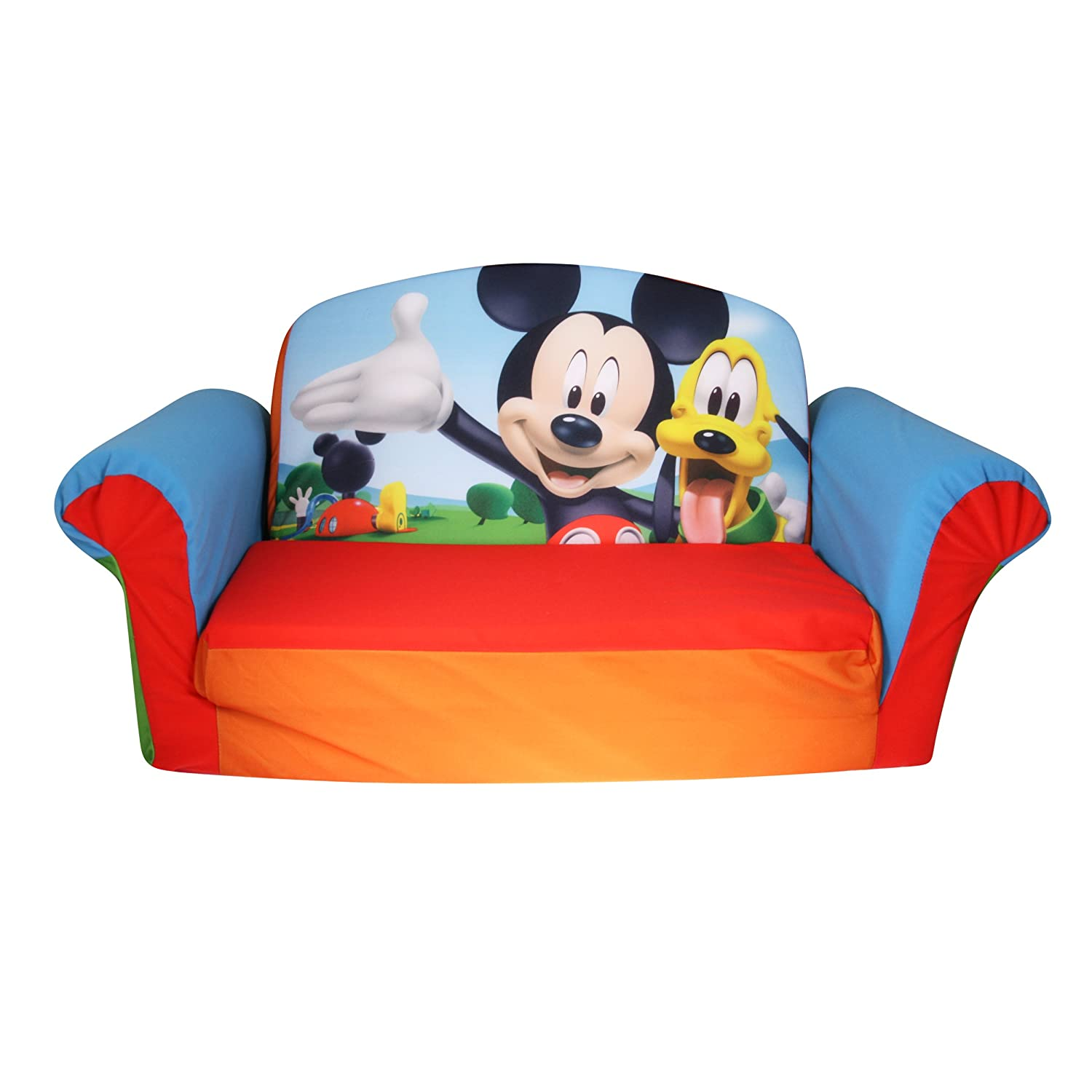 amazoncom marshmallow furniture childrens upholstered 2 in 1 flip open sofa disney mickey mouse club house by spin master toys games - Toddler Sofa