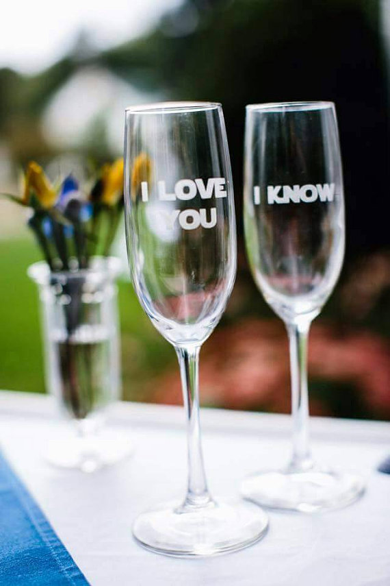 Star Wars Inspired Champagne Glasses Set I love by EtchedFeelings