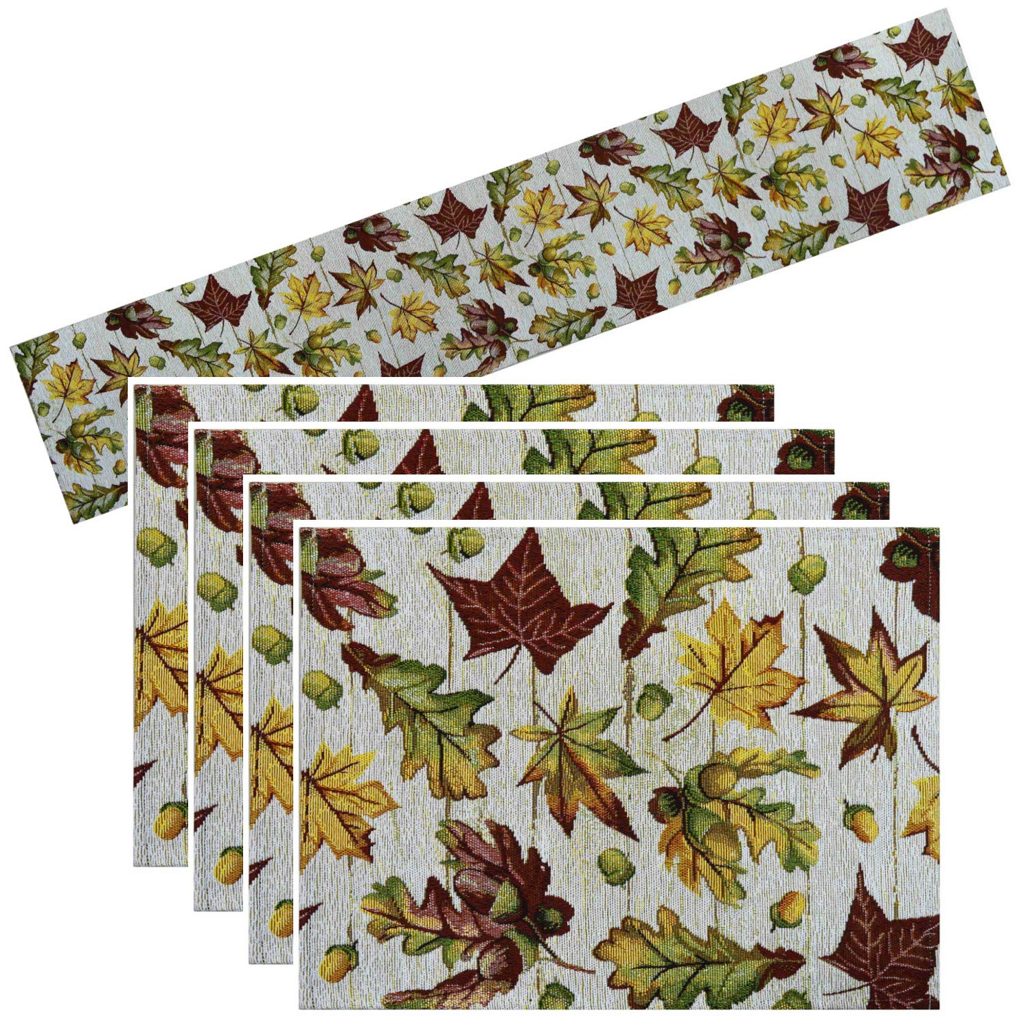 Way to Celebrate Fall Leaves Table Runner 72 Inches with 4 Placemats Tapestry Bundle