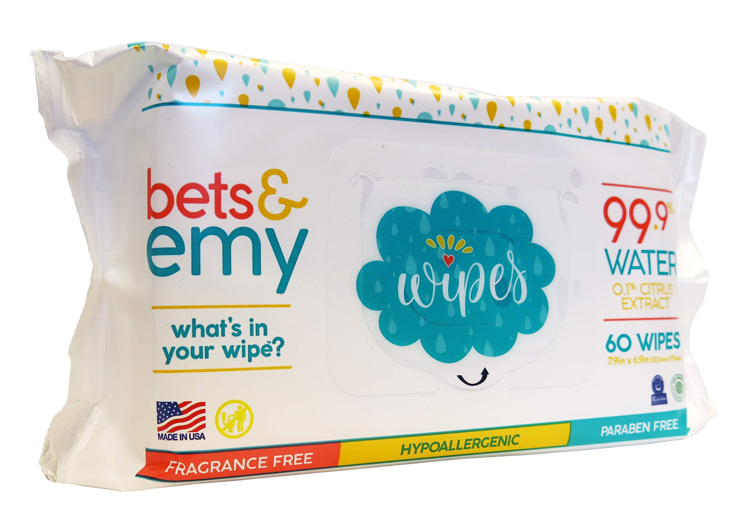BETS & EMY American-Mom Made Baby Wipes 99.9% Water! 540 Count (9 Packs of 60 Count) by BETS & EMY