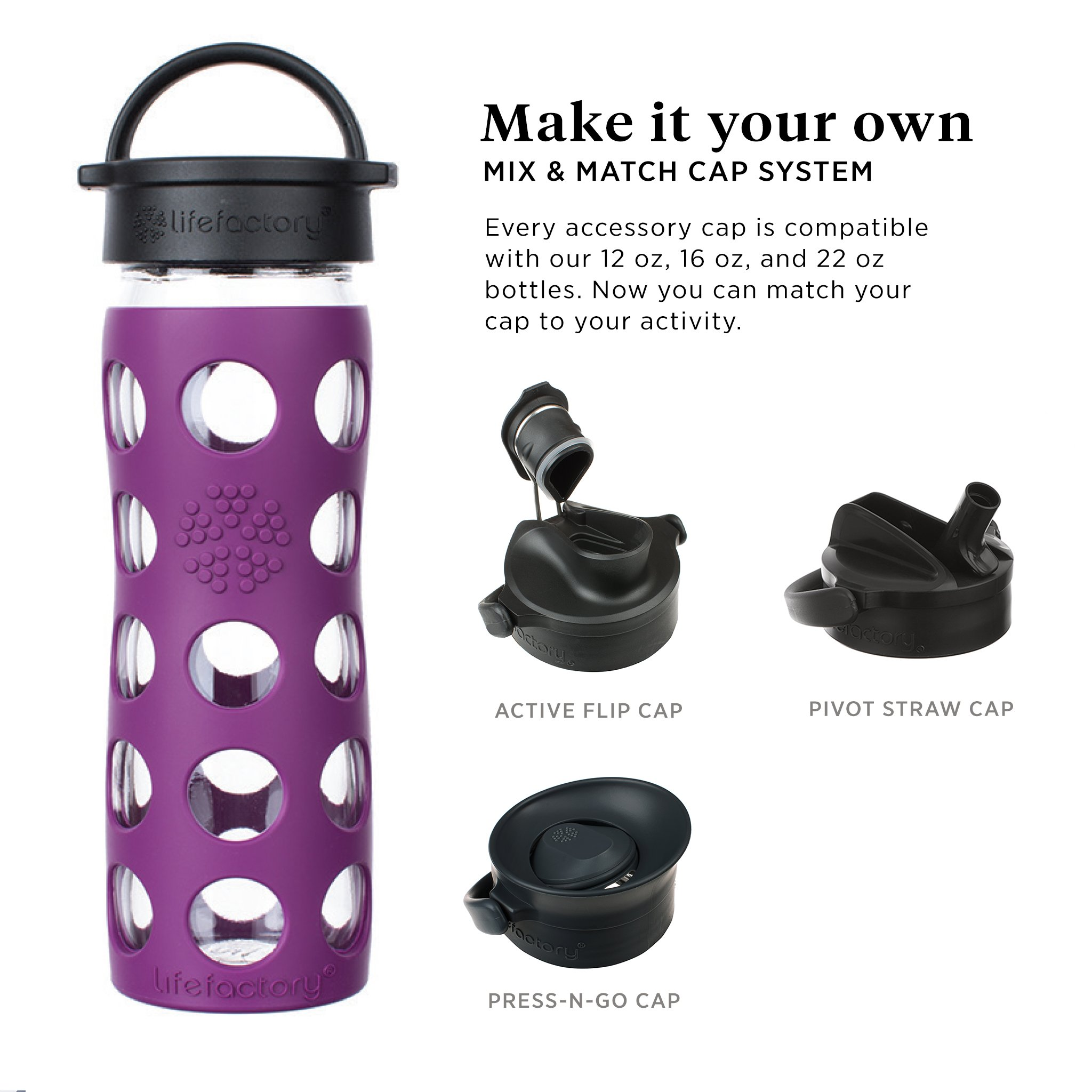 e9913f73847 Lifefactory 22-Ounce BPA-Free Glass Water Bottle with Classic Cap and  Silicone Sleeve