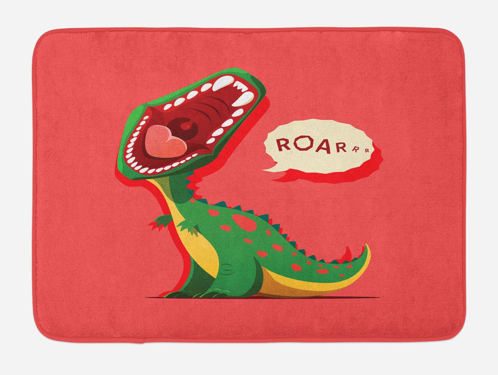 Ambesonne Dinosaur Bath Mat, Aggressive Prehistoric Cartoon Animal Roaring Open Mouth Wildlife Image, Plush Bathroom Decor Mat with Non Slip Backing, 29.5 W X 17.5 W Inches, Coral Green Yellow