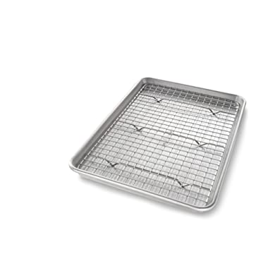 USA Pan 1605CR Jelly Roll Baking Pan and Bakeable Nonstick Cooling Rack, Metal