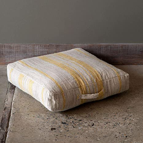 Park Hill Collection Linen Striped Floor Cushion With Handle Yellow Home Kitchen