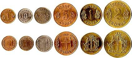 SALE ICELAND 5 COINS SET 1 5 100 KRONUR UNC 50 10