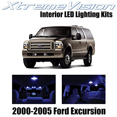 XtremeVision Interior LED for Ford Excursion 2000-2005 (12 Pieces) Blue Interior LED Kit + Installation Tool: Automotive