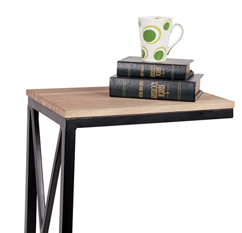 DECORINY Sofa Side Acacia Wood C End Table for Study,Coffee,Tablet,Set of 2 C-Table, Birchwood