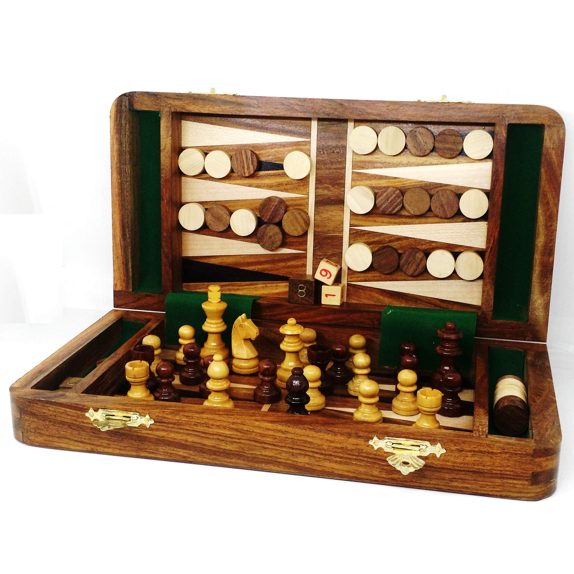 RoyalChessMall- 2 in 1 Magnetic Travel Chess & Backgammon Set in Golden Rosewood 10 inches