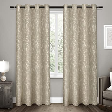 exclusive home curtains forest hill woven room darkening grommet top window curtain panel pair natural