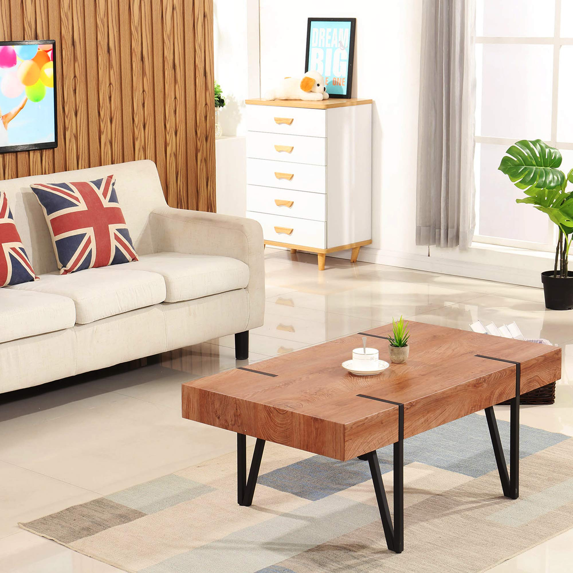 Ivinta Modern Industrial Coffee Table for Living Room Mid-Century Rustic Plain Table Top Sofa Table 42x24x17inch by Ivinta