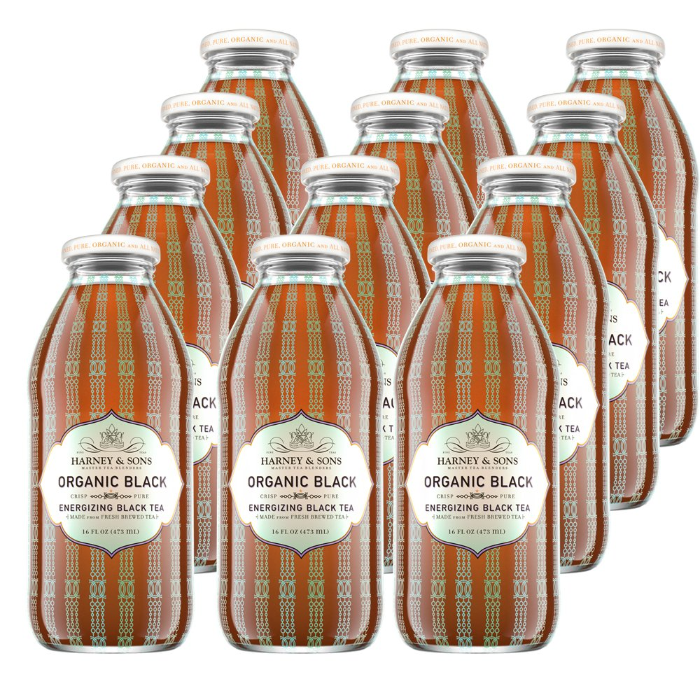 Harney & Sons Organic Black Iced Tea, 16 oz. Glass Bottles (Pack of 12)