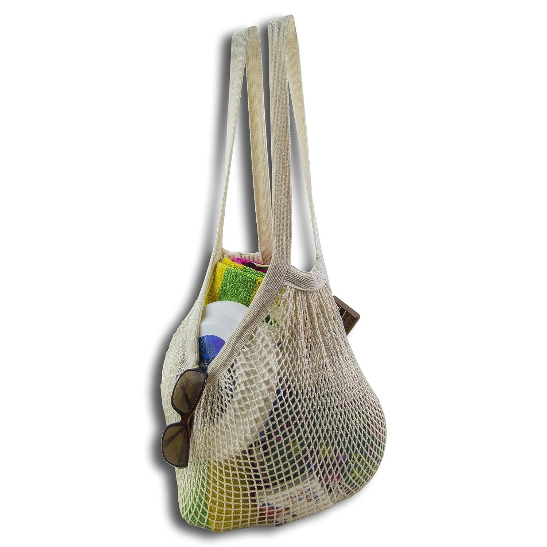 plage 2 Pack simples et /Écologie Coton Bio r/éutilisable March/é Ficelle Natural Sac de courses