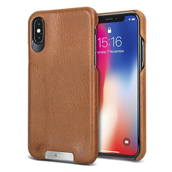 cheaper cb633 f7802 Vaja Grip Leather Case for iPhone X - Hard Polycarbonate Frame, Wireless  Charging Compatible - Saddle Tan
