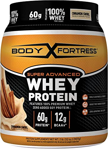 Body Fortress Super Advanced Whey Protein Powder, Gluten Free, Cinnamon Swirl, 2 Pound
