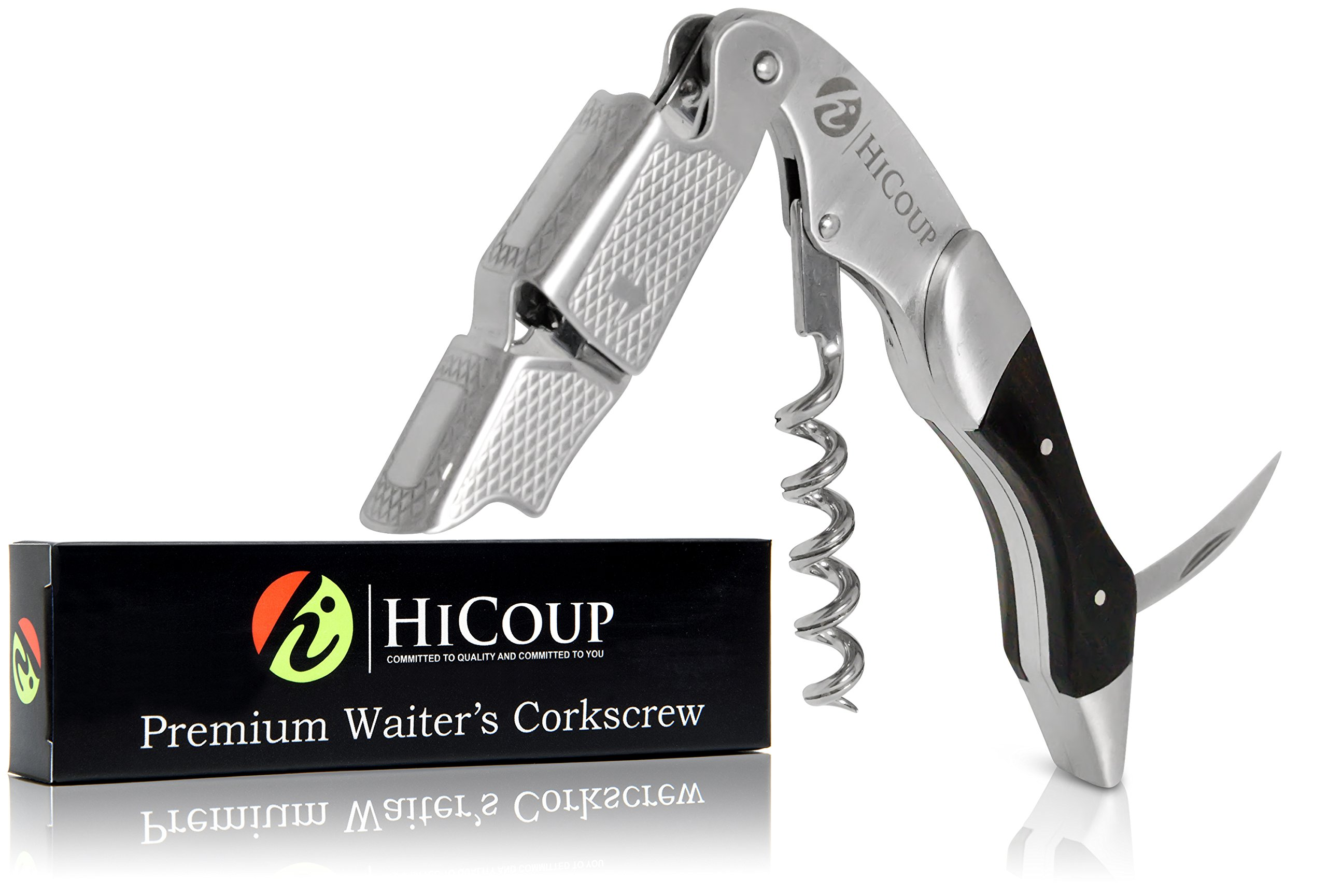 Waiters Corkscrew by HiCoup - Professional Stainless Steel with Ebony Wood Inlay All-in-one Corkscrew, Bottle Opener and Foil Cutter, The Favoured Wine Opener of Sommeliers, Waiters and Bartenders