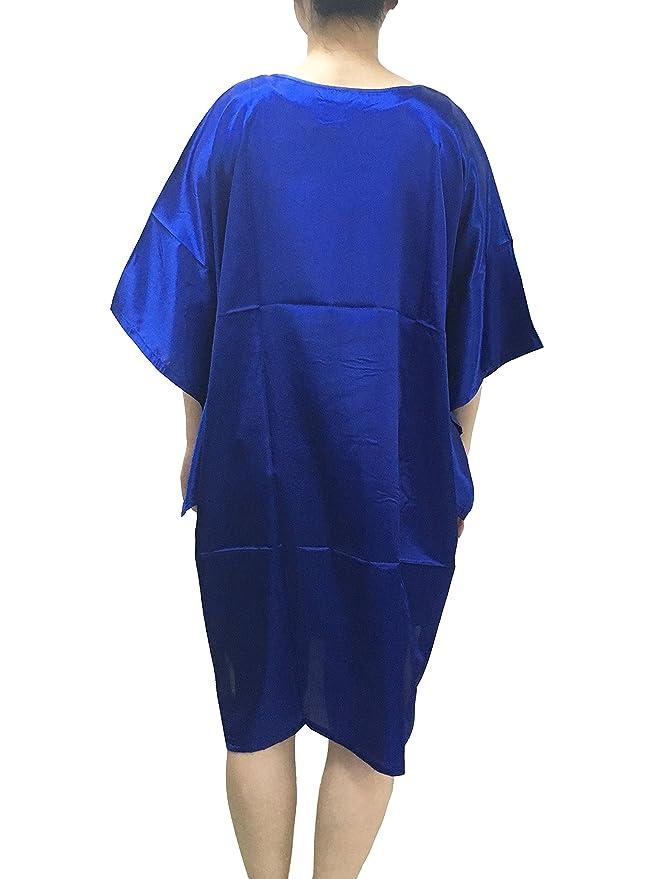 ACVIP Women s Flower Peacock Chinese Silk Loose Sleeve Sleepwear Night Dress  RoyalBlue (Flower)  Amazon.co.uk  Clothing 254708f70