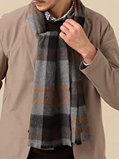 Wool Cashmere Check Scarf 118-36-0090: Grey