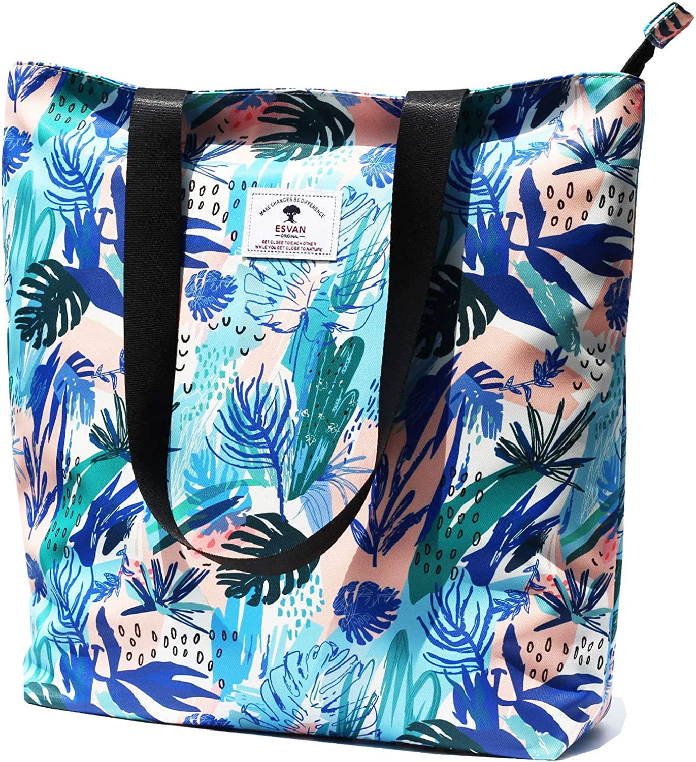 Bachelor and etc Grocery with Pocket I Design 20 Pilates Beach Floral Luxury Cotton Canvas Tote Bag for Daily Yoga Vacation