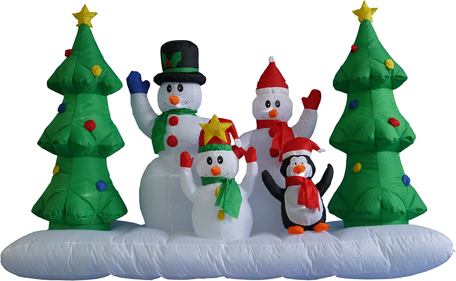 8 Foot Wide Inflatable Snowmen Family with Penguin and Christmas Trees Party Decoration Lights Decor Outdoor Indoor Holiday Decorations, Blow up Lighted Yard Decor, Lawn Inflatables Home Family