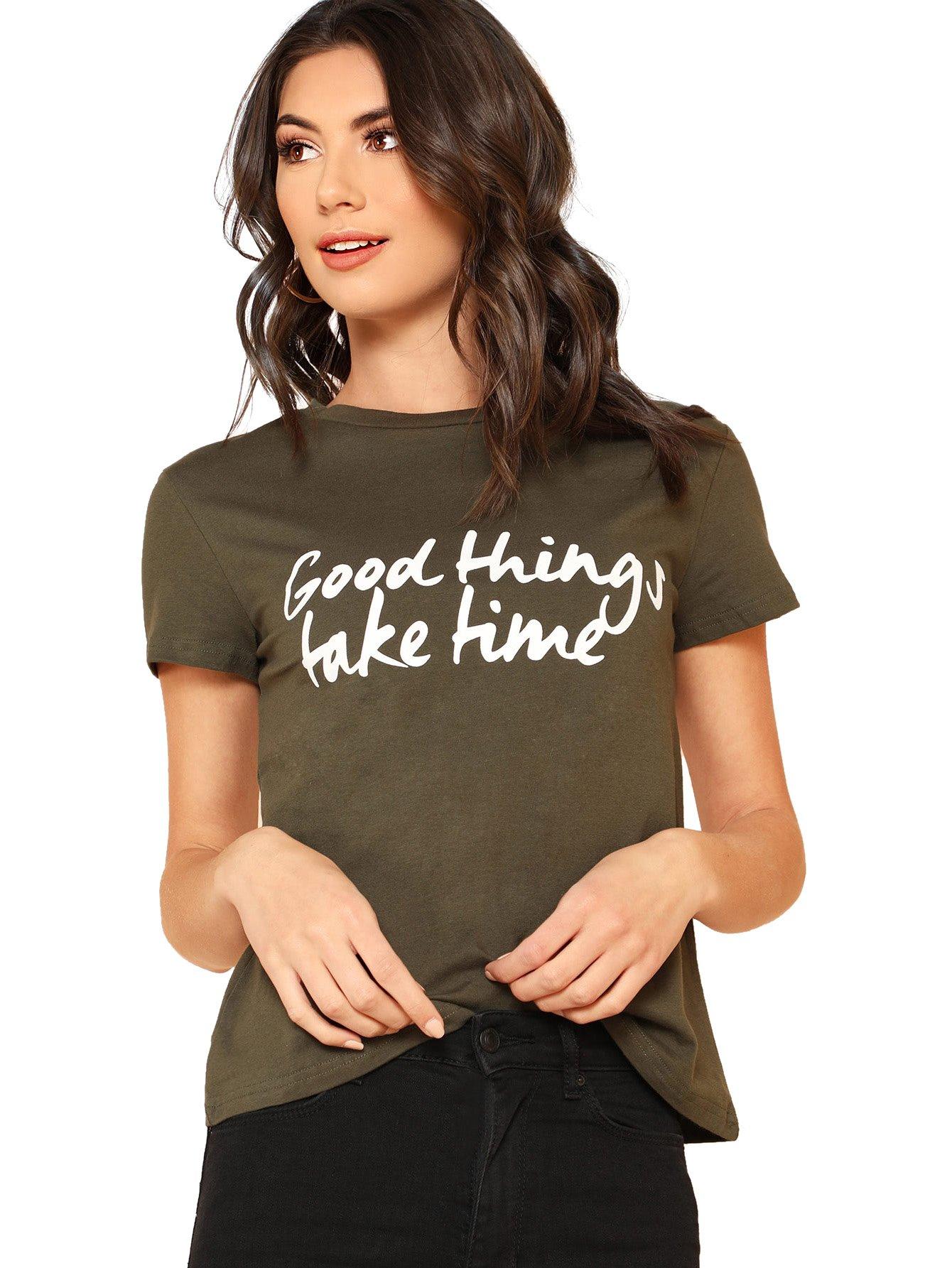 2520d6a8f SheIn Women's Cute Short Sleeve Junior Tops Teen Girls Graphic Tees Army  Green Small